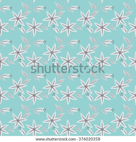 Seamless abstract pattern ornament with floral elements stylish texture on  blue background