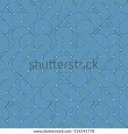 Seamless abstract pattern. Twisted lines. Blue - stock photo