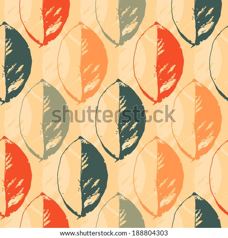 Seamless abstract pattern with colorful leaves on a light background