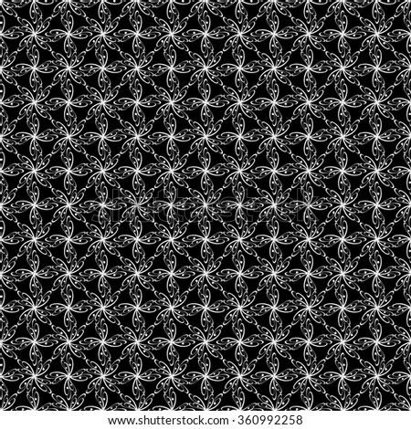 Seamless abstract pattern with curved abstract elements. Ornament for fabric, paper and other. Black and white. Rasterized version - stock photo