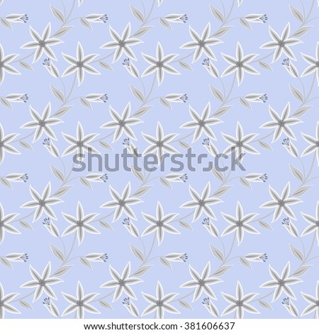 Seamless abstract pattern with flowers ornament stylish texture on light blue background