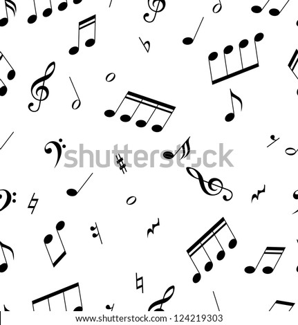 Seamless abstract pattern with music symbols. Raster version