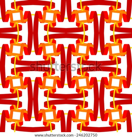 seamless abstract red white pattern orange white texture with red line wicker on white background raster - stock photo