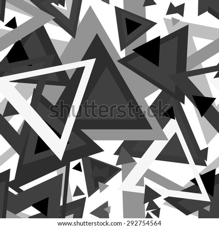 Seamless abstract texture with black and white triangles, psychedelic chaotic background
