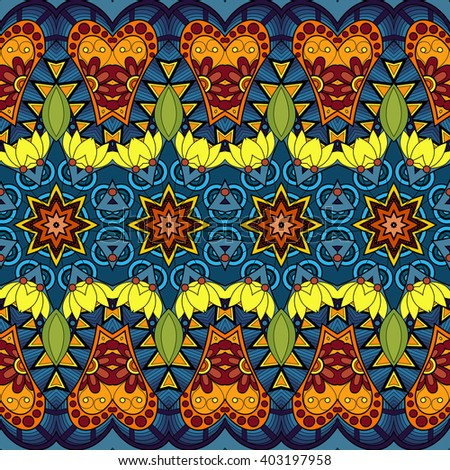 Seamless Abstract Tribal Pattern. Hand Drawn Ethnic Texture, Flight of Imagination