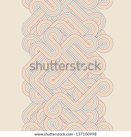 Seamless abstract vertical border. Color twisted lines - stock photo