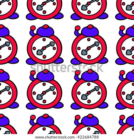Seamless Alarm Clock Pattern  - stock photo