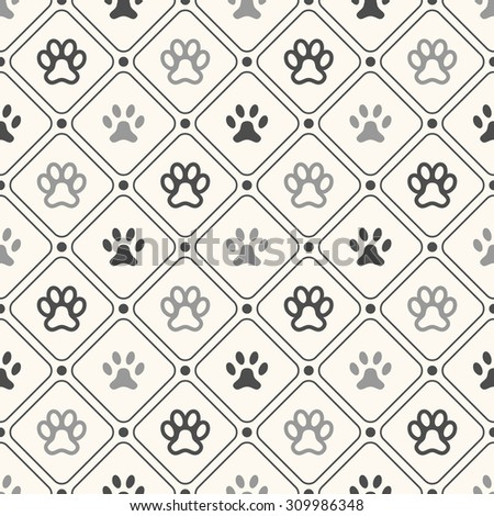 Seamless animal pattern of paw footprint in frame and polka dot. Endless texture can be used for printing onto fabric, web page background and paper or invitation. Dog style. White and black colors. - stock photo