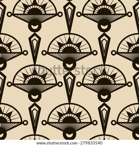 Seamless antique pattern ornament. Geometric art deco stylish background repeating texture in monochrome colors - stock photo