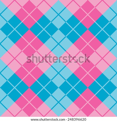 Seamless argyle pattern in pink and blue. - stock photo