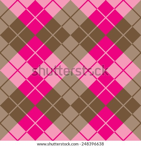 Seamless argyle pattern in pink and brown. - stock photo