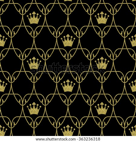 Seamless Art Nouveau Crowns Pattern with Gold Foil Overlay