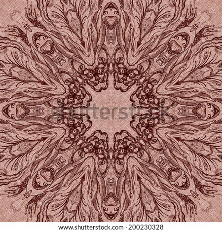Seamless artistic background, abstract graphic pattern on vintage linen canvas - stock photo