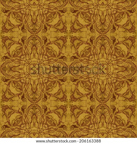 Seamless artistic background, abstract graphic pattern on wooden veneer