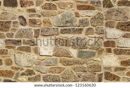 seamless ashlar old stone wall texture background - stock photo