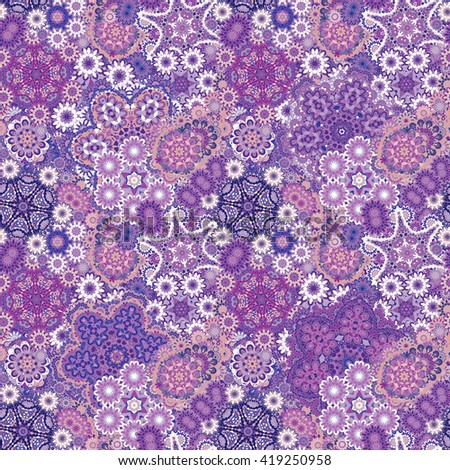 Seamless asian ethnic floral retro doodle violet lilac blue background pattern in . Henna paisley mehndi doodles design tribal pattern. - stock photo