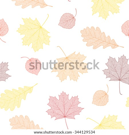Seamless autumn pattern from skeletons of leaves. Illustration for banner, card, background, textile, paper packaging, wrapping paper, scrapbooking, wallpaper, textile etc. Raster copy of vector file. - stock photo