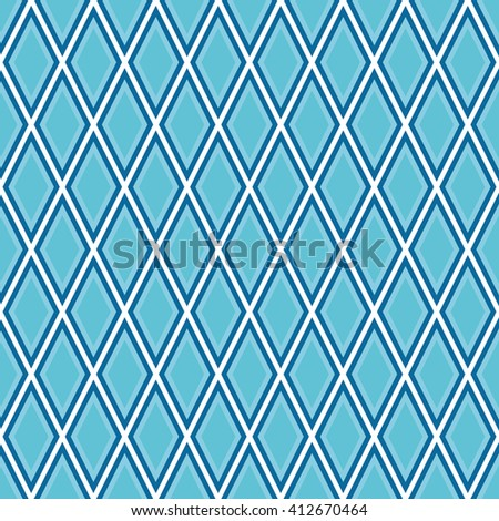 Seamless azure blue outline rhombic pattern