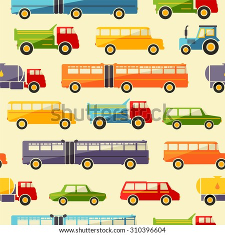 Seamless baby background with colorful retro flat car icons