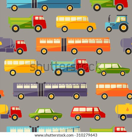 Seamless baby background with colorful retro flat car icons on gray