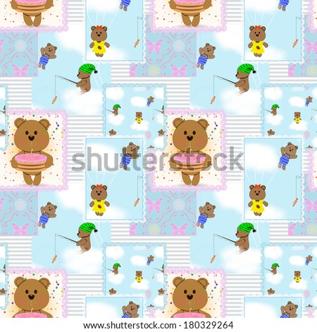 Seamless baby pattern with teddy bears - stock photo
