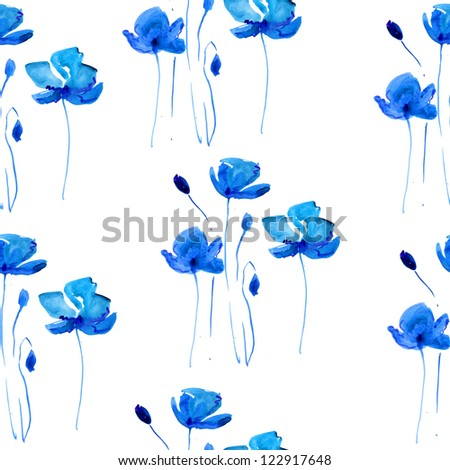 Seamless background: blue poppy. watercolor - stock photo