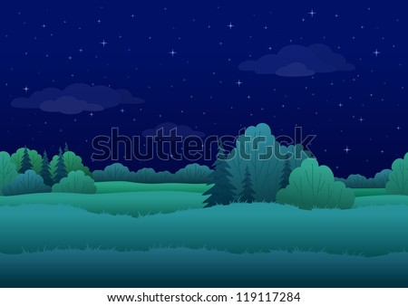Seamless background, cartoon summer night landscape: forest and sky with stars