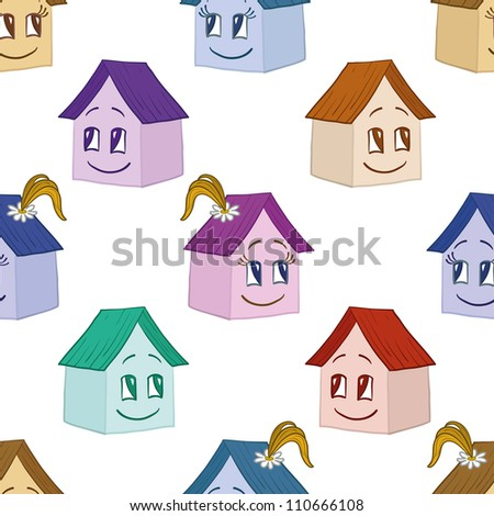 Seamless background, cartoon toy houses, girl and boy