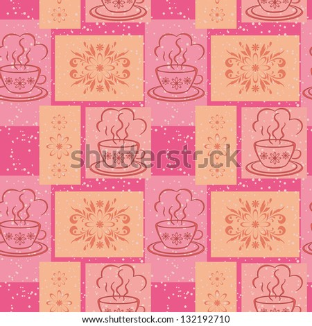 Seamless background, cups with a hot drink and rectangles with floral pattern. - stock photo