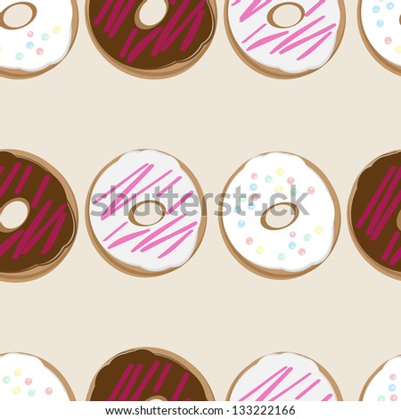 Seamless background design of fresh doughnuts, or donuts, glazed with chocolate and pink and white icing covered in sprinkles for a delicious tea or breakfast