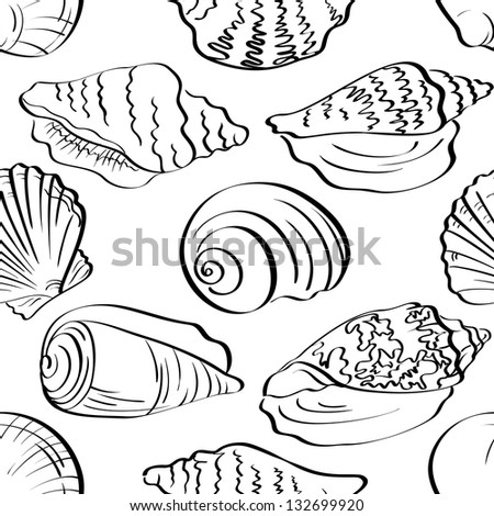 Seamless background, different marine seashells, black contour on white background. - stock photo