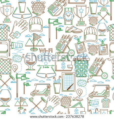 Seamless background for golf. Seamless pattern with green, blue and brown contour elements for golf on white background. - stock photo