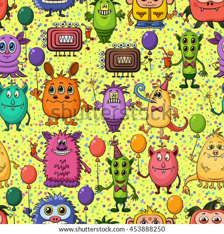 Seamless Background for Your Holiday Party Design with Different Cartoon Monsters, Colorful Tile Pattern with Cute Funny Characters, Feasting with Balloons, Sparklers and Cocktails.  - stock photo