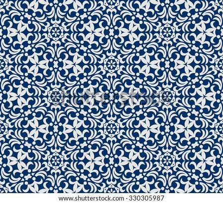 Seamless background in Arabic style. white blue wallpaper with patterns for design. Traditional oriental decor
