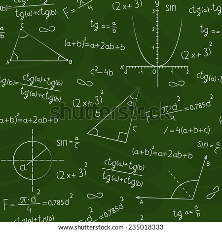 Seamless background in the form of a school board with a geometric figures and formulas