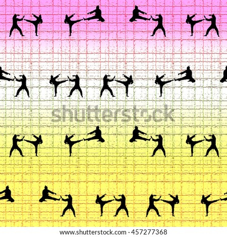 Seamless background karate kicks