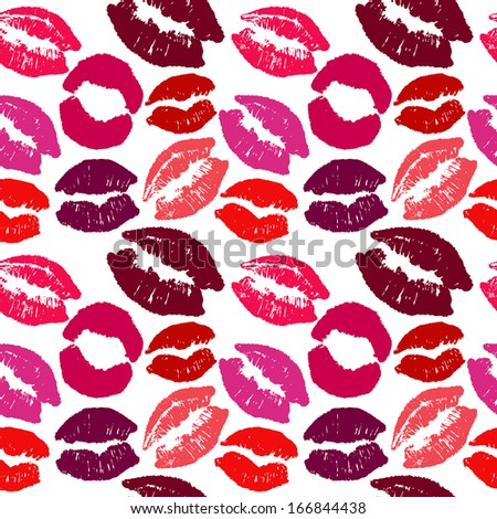 seamless background. lips prints - stock photo