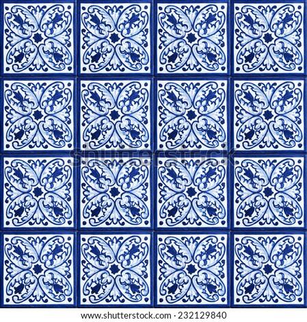 Seamless background made of decorative ceramic tiles - stock photo