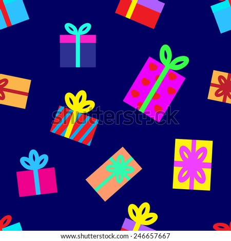 Seamless background of gift boxes.  illustration.