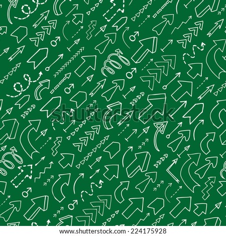 Seamless background of hand drawn arrows with question and exclamation marks on green background. Vector version is also available in the portfolio.