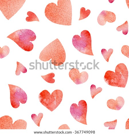 Seamless background 5 of watercolor hearts for Valentine's Day. The holiday of love