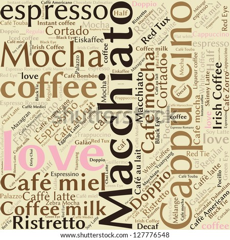 Seamless background pattern coffee, espresso, cappuccino, macchiato, Word cloud, tag cloud text business concept. Word collage. - stock photo