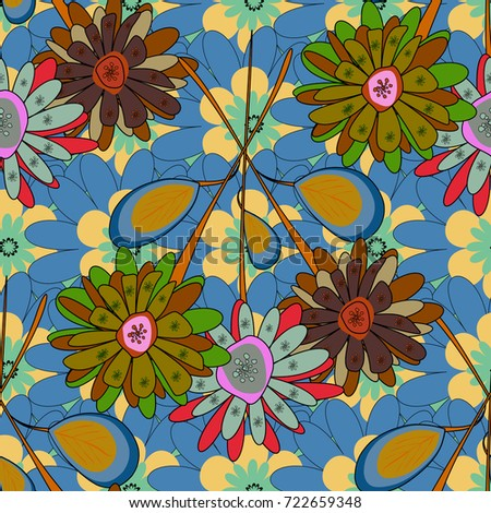 Seamless background pattern. Colorful flowers with plumage in blue, brown and yellow colors.