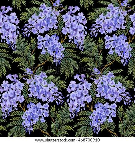 Seamless Background Pattern Jacaranda Tree Flowers Stock