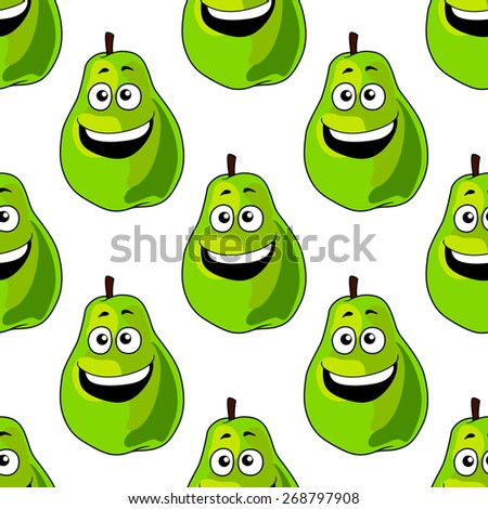 Seamless background pattern of happy green pears with a single repeat motif with a big joyful toothy smile in square format suitable for textile or wallpaper design - stock photo
