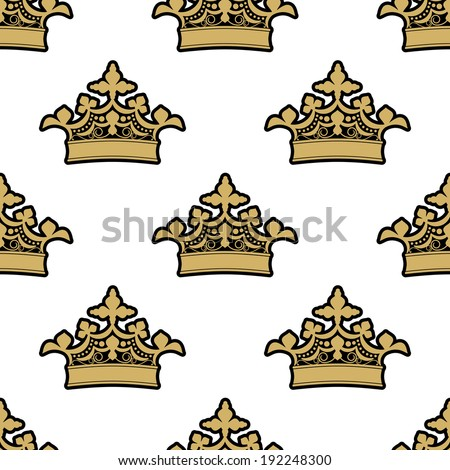 Seamless background pattern of ornate golden royal crowns on a white background. Vector version also available in gallery - stock photo