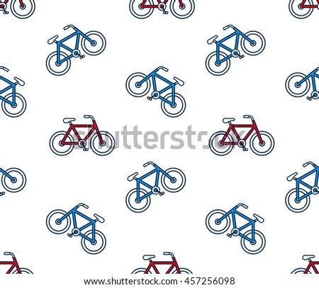 Seamless background pattern of red and blue bicycles scattered on a white background in square format for print or textiles - stock photo