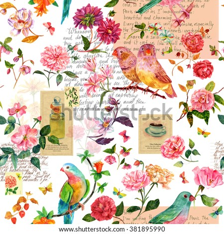 Seamless background pattern with hand drawn watercolor birds, flowers and butterflies, and scraps of stylized pieces of old texts and postage stamps - stock photo