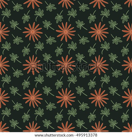 Seamless background pattern with repeating flowers and leaves on the green background