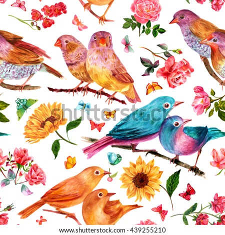 Seamless background pattern with vintage watercolor drawings of flowers (roses and sunflowers), birds and butterflies, on white; abstract wallpaper - stock photo